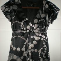 Limited Express Black With Geometric Print Blouse Shirt Photo