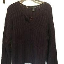 Limited Size M Purple Wool Blend Long Sleeve Pullover Sweater Photo