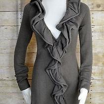 Limited Xsmall Long Gray Cardigan Sweater Ruffled Front Acrylic Photo