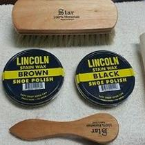Lincoln Polish Kit Black Brown. Applicator Shine Brushes. spit&express Sponge. Photo