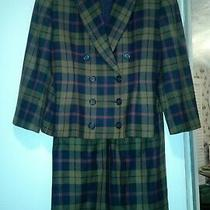 Linda Allard Ellen Tracy Ladies Plaid 2 Piece Skirt Suit Set Size 14 Photo