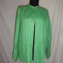 Linda Allard Ellen Tracy Pure Linen Green Mandarin Collar Blazer Jacket Sz 8 Photo