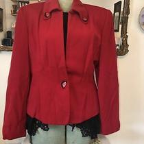 Linda Allard Ellen Tracy Red  Career Blazer Jacket Vintage Wool Sz 14 Photo