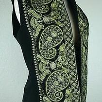 Linda Allard Ellen Tracy Sz 4 Black Embroidered Paisley Wool Faux Fur Vest G2 Photo