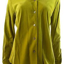 Linda Allard Ellen Tracy Womens 10 Suede Button Down Shirt Chartreuse Rtl 695 Photo