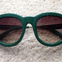 Linda Farrow Luxe Green Snakeskin Cat Eye Sunglasses 143  Gold Titanium 700.00 Photo