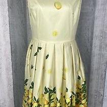 Lindy Bop Yellow 'Christie' Lemon Border Vintage Inspired Swing Dress Size 14 Photo