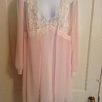 Linea Donatella  Blush Pink Lingerie Nightgown & Robe Set - Size Medium Photo