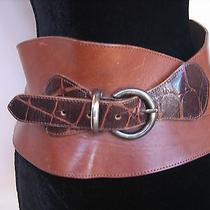 Linea Pella Brown Leather & Faux Croc Wide Corset Belt Made in Italy Size Xs Photo