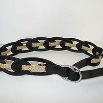 Linea Pelle Belt Black Leather Jute Rope Intertwine Buckle Slide Sz Mnew Nice Photo