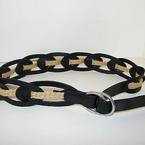 Linea Pelle Belt Black Leather Jute Rope Intertwine Buckle Slide Sz S New Nice Photo