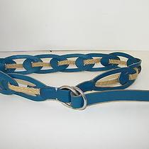 Linea Pelle Belt Teal Leather Jute Rope Intertwine Buckle Slide  Sz M New Nice Photo