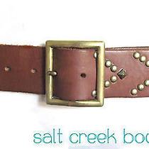 Linea Pelle Biker Anthropologie Brass Stud Brown Leather Buckle Waist Hip Belt M Photo