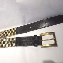 Linea Pelle Black and Gold Accent Italian Leather Belt Ladies Small S Photo