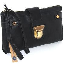 Linea Pelle Black Italian Leather Zip Clutch With Wrist Strap Nwt Photo