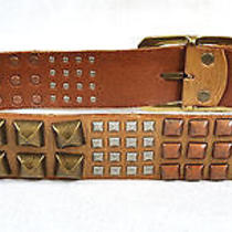 Linea Pelle Collection Pyramid Studded Brown Leather Belt M Photo