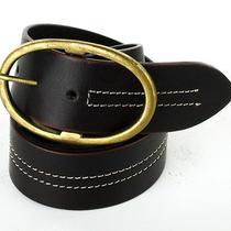 Linea Pelle Dark Brown W/ White Stitching Wide Hip Slung Leather Belt Size Small Photo