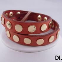 Linea Pelle Gold Flat Stud Double Wrap Bracelet Dijon Photo