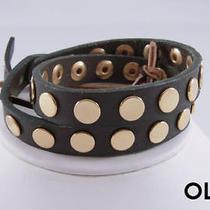 Linea Pelle Gold Flat Stud Double Wrap Bracelet Olive Photo