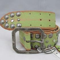 Linea Pelle Leather Belt Green Brown Distressed Large 1.75 Wide Fits 33-37 New Photo