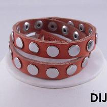 Linea Pelle Silver Flat Stud Double Wrap Bracelet Dijon Photo