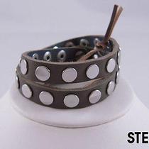 Linea Pelle Silver Flat Stud Double Wrap Bracelet Steel Photo