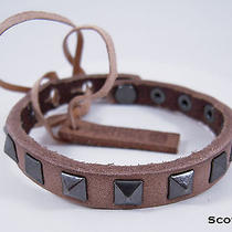 Linea Pelle Skinny Studed Pyramid Bracelet in Scotch Photo