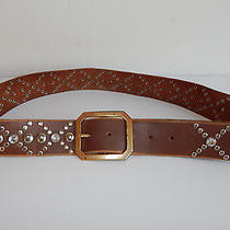 Linea Pelle Striking Silver Grommets Large Beads on Brown Leather Belt - M Photo