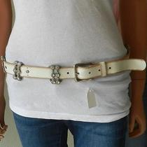 Linea Pelle White Leather Belt With Rhinestones Size Large. Very  Nice Photo