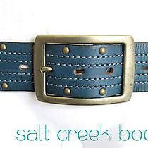 Linea Pelle Wide Anthropolgie Studded Brass Buckle Turquoise Blue Leather Belt L Photo