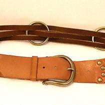 Linea Pelle Wide Brown Leather Womens Strappy Belt Brass Ring Accents Sz L Photo
