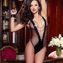 Lingerie Mesh Wetlook Inset Chains Teddy & Wrist Cuffs Bedroom Fantasy Ysf11354 Photo