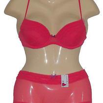 Lingerie Set Push Up Bra Panties Cosabella Amour Purple Pink Ruffle Sheer New Photo