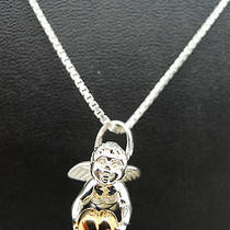 Links of London Sterling Silver Yellow Gold Cupid Necklace Charm Pendant Tiffany Photo