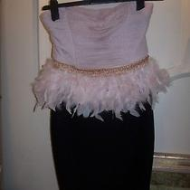 Lipsy Black & Blush Pink Feather Peplum Bodycon Dress Size 10 Bnwt Photo