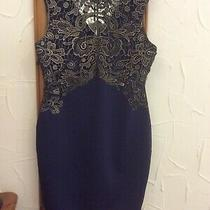 Lipsy for Avon Navy and Gold Lace Dress - Size 14 Photo