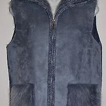 Lisa International Vest in Light Blue Size M Faux Fur Faux Chenille Suede Hobo  Photo