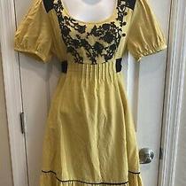 Lithe Anthropologie Kings Road Dress Yellow Black Lace Size 10 Euc Photo