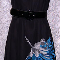Little Black Chiffon Cocktail Dressw Big aquagray&black Flowers Sz 10 Studio 1  Photo