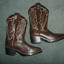 Little Boys Brown Stitched Express Rider Country Western Cowboy Boots Size 13 Photo