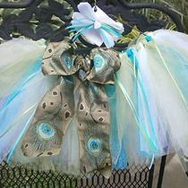 Little Girls Aqua Peacock Tutu & Matching Hair Bow (Handmade) Glitter Sparkle  Photo