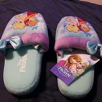 Little Girls Bedroom Slippers Frozen Bluesize L/g (11-12) China Vs350373 Avon. Photo