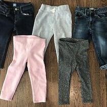Little Girls Lot of 5 Pants Jeans Leggings  - Size 2t -Gap Cat & Jack Old Navy Photo
