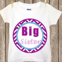 Little Sister or Big Sister Purple and Pink Chevron Shirt-Sibling Shirt (176) Photo