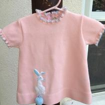 Little World Inc. Vintage Girls Short Sleeved Easter Top Dress Pink Bunny Evc Photo