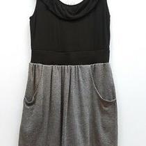 Little Yellow Button Anthropologie Size Xs Black Gray Ruffle Front Pocket Dress Photo