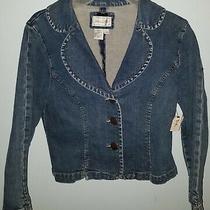 Live a Little Blue Denim Jean Jacket Girls Size S Cotton Spandex Nwt Cute  Photo