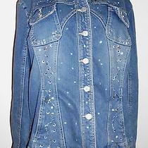Live a Little Womens Xl Blue Denim Jacket Bling Rhinestones Tapered Waist Cuffs Photo