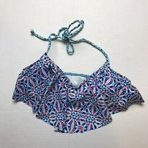 Live Love Dream Aeropostale Blue Pink Print Halter Tie Bikini Top Size M A166 Photo
