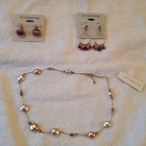 Liz Claiborne 2 Pairs of Earrings and Necklace Photo